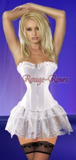 Sexy White Gothic CORSET Bustier Lace Lolita Dress M g8025_w