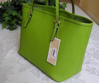 Michael Kors Jet Set Travel Leather Small Tote Bag Purse Lime Green