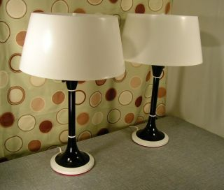 Vintage Gerald Thurston Lightolier Table Lamps Pair Mid Century Modern