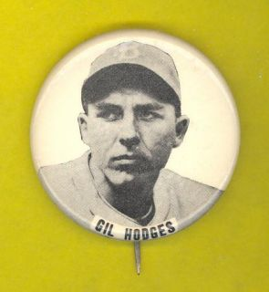 Brooklyn Dodgers 1940s Pinback Button Gil Hodges