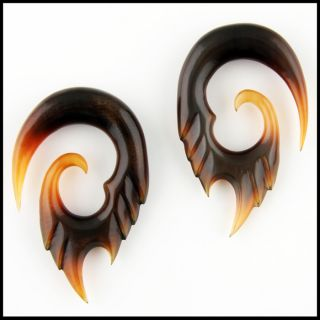 Pair of Tribal Wings Horn Ear Plugs Gauges Pick Size