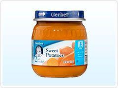 Lot of 24 Gerber Baby Food 4 oz Jars Sweet Potatoes Green Beans Apple