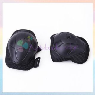 Skating Cycling Roller Knee Elbow Wrist Protective Gear Guard Pad Blk