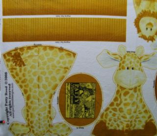 PATTY REED JUNGLE BABIES LARRY LION GERI GIRAFFE 100 FLEECE FABRIC TOY