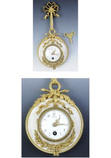 French Germain Carrera Marble Wall Clock with Gilt Bronze