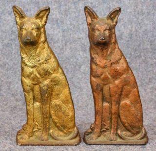 Antique Cast Iron Bookends Door Stop German Sheppard Dog Pair