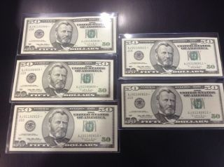 Consecutive Fifty Dollar Bills Star Notes RARE