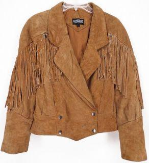Vtg Anne Gee® Suede Leather Motorcycle Western Fringe Jacket Brown M