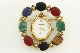 Costume Jewelry Majestron MOP Watch Pendant Scarab Gemstone Brooch Pin