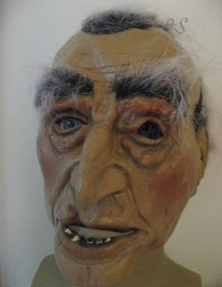 old geezer man latex mask grey hair halloween costume accessory