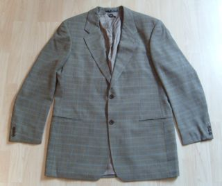 Long Hugo Boss Brown Blue Plaid Wool Sport Coat Blazer Galilei