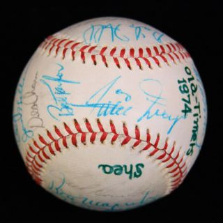 1974 Old Timers Game Signed Baseball JSA Willie Mays Joe DiMaggio 15