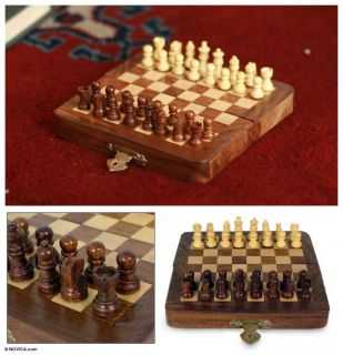 Winning Strategy India Handmade Hand Carved Wood Travel Chess Set Art
