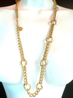 Givenchy Paris Heavy Gold Plated Chunky Long Chain Necklace Stunning