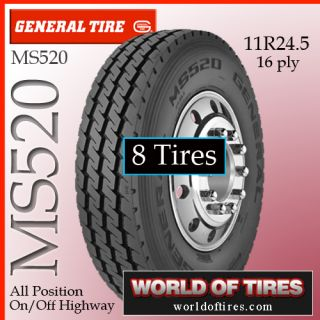 Tires General MS520 11R24 5 16 Ply Semi Truck Tire 11R24 5 11R24