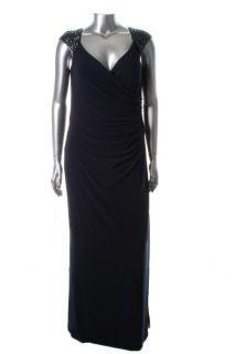 Ralph Lauren New Modern Glamour Navy Embellished Jersey Formal Dress