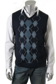 Geoffrey Beene New Navy Argyle Ribbed Trim V Neck Casual Sweater Vest