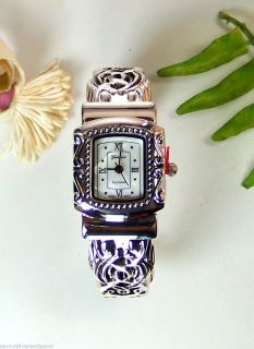 Designer Inspired Geneva Platinum Cuff Bracelet Watch Fits All Sizes