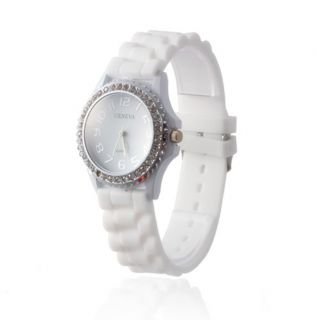 Silicone Band Watch Geneva Crystal Quartz Ladies Girl Wrist Watch