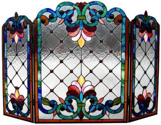 Fleur de Lis Floral Stained Glass Fireplace Screen