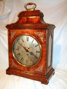 George III Verge Fusee Bracket Clock Bell Top Mahogany Case