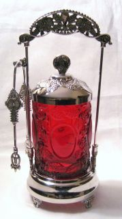 Ruby Red Glass Rose and Mirror Pickle Castor Set