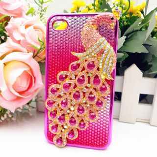3D Rose Crystal Peacock Bling Color Leather Case Cover for iPhone 4 4s