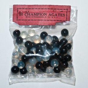 Vintage Bag of 60 Champion Agates Marbles Black White Pee Wee
