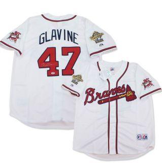 Tom Glavine signed Atlanta Braves 1995 World Series Home Jersey PSA