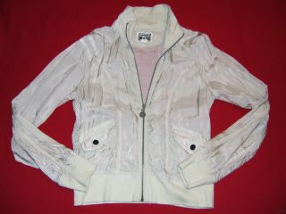 One Star Bone Zipper Front Track Style Silky Look Jacket M Glee Style