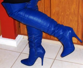 Royal Blue Thigh High Boots Size 7