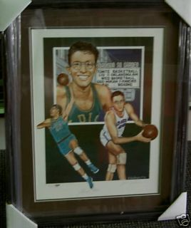 George Mikan 18 x 24 Auto Framed Lakers Litho PSA DNA