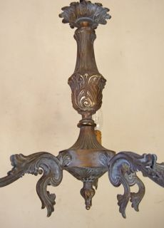 Antique French Shabby Chic Colour Patinated Bronze Louis XV 5 Branch