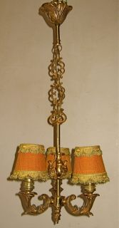 Gorgeous Antique French 3 Light Heavy Gilt Bronze Chandelier w Shades