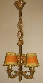 Gorgeous Antique French 3 Light Heavy Gilt Bronze Chandelier w Shades