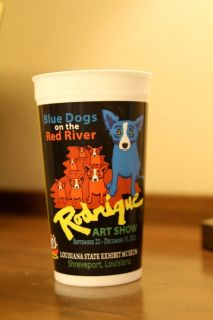 of four 4 Blue Dog cups by artist Cajun artist George Rodrigue 32 oz