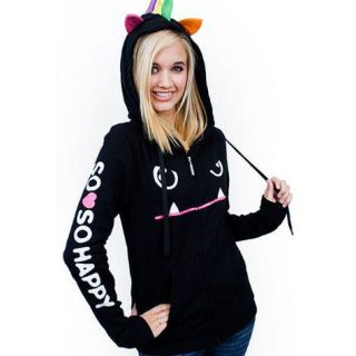 So So Happy Mad Dog Junior Girl Anime Zip Hoodie Black