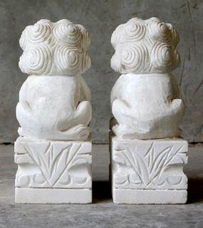 White Stone Foo Dog Statue Set Fu Lion Pair Garden 10