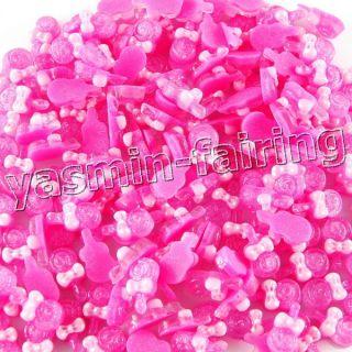 10 x Cute 3D Lollipop Glitter Nail Art Decoration Acrylic Pink 624