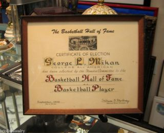 George Mikan Original College Hall of Fame Certificate