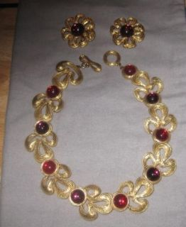 Beautiful Givenchy Red Stone Necklace and Earrings