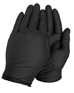 1000 Black Nitrile Disposable Work Gloves 4 Mil PF L