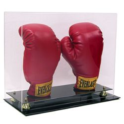 New Double Boxing Two Glove Display Case w Gold Risers