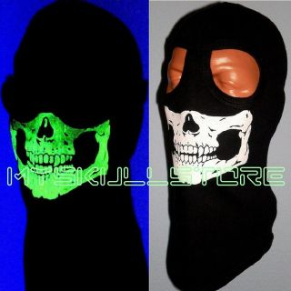 BALACLAVA Skull Mask FULL Face HOOD 2 HOLE SKI THICK GLOW IN THE DARK
