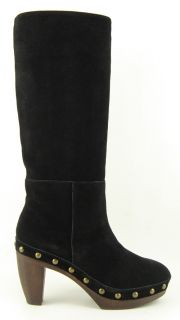 Steven Steve Madden Geraldyn Black Suede Womens Shoes Knee High Clog