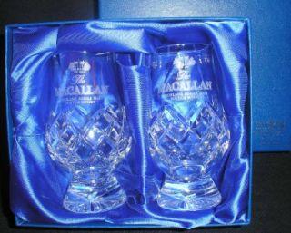 The Macallan Scotch Malt Whisky Glencairn Cut Crystal Two Glass Boxed