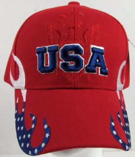 New Red Patriotic USA Shield Baseball Cap Hat