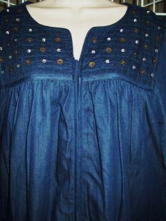 Go Softly Zip Front Denim House Dress Muu Duster L