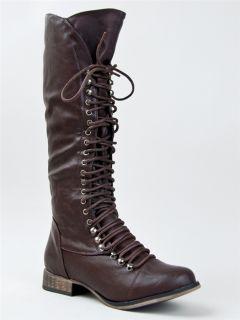 Women Military Lace Up Combat Knee High Boot Sz Brown GEORGIA85