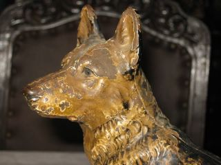 Antique Hubley German Shepherd Cast Iron Police Rescue Fire Dog Home